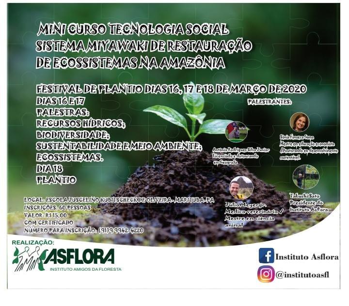MINICURSO TECNOLOGIA SOCIAL – SISTEMA MIYAWAKI DE RESTAURAÇÃO DE ECOSSISTEMAS NA AMAZÔNIA